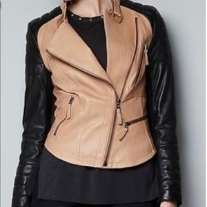 Zara Lambskin Leather Two Tone Moto Jacket